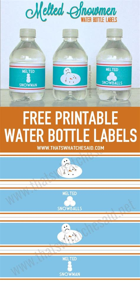 free printable water bottle labels template 25 best ideas about melted snowman on diy decorations decorations and