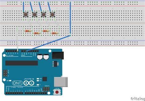 arduino resistor read using one analog pin to read 4 buttons arduino all