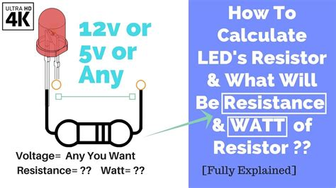how to calculate led s resistor and watt of it of12v 5v