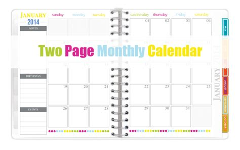 2 page monthly calendar template 2014 the all new 2014 everyday planner printables sweet paper