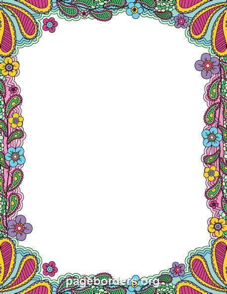 colorful borders printable colorful doodle border use the border in
