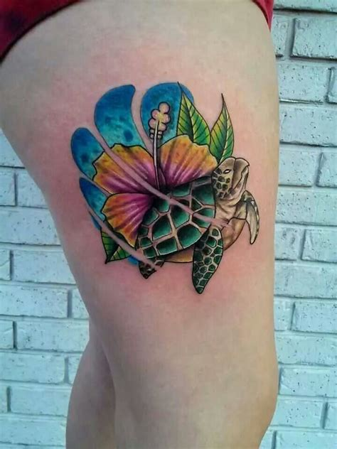 tattoos of turtles ses turtle and hibiscus by mike hughes of hallowed