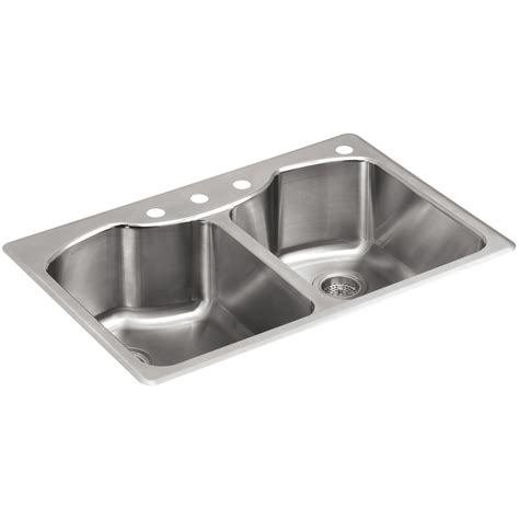 kohler drop in sinks shop kohler octave 22 in x 33 in stainless steel double