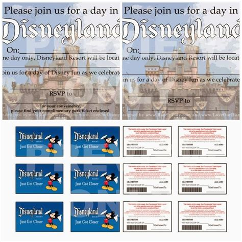 printable disneyland tickets free printable disneyland themed party invites and quot park
