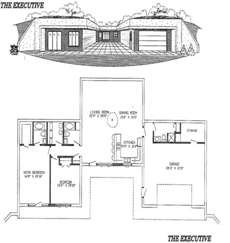 earth shelter underground floor plans earth sheltered homes the executive plans house shelter earth and