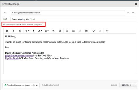 Creating Email Templates Pipelinedeals Help Center Send Email Template