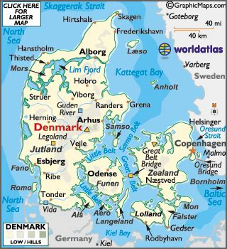 denmark on map denmark large color map
