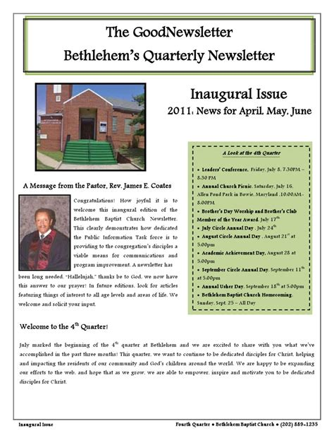 quarterly newsletter template issuu bethlehem baptist church quarterly newsletter by