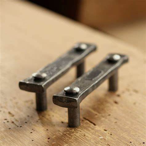 Wrought Iron Kitchen Cabinet Hardware | drawer pulls pair of 3 quot lithops tenon pulls wrought