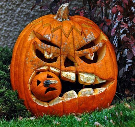 clever pumpkin unique halloween pumpkin carving designs with double