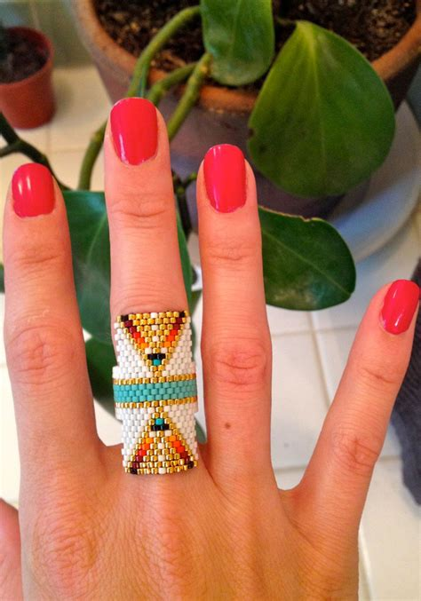 beadwork rings amazing beaded ring by mint jewelry on etsy beading