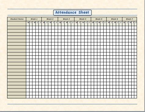 template for attendance register school attendance sheet template