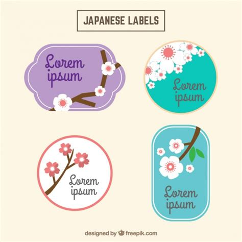 Etiketten Japan by Vintage Japanese Labels With Cherry Blossom Vector Free