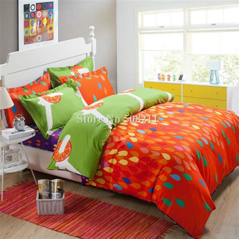 Orange And Blue Quilt Bedding Wholesale Orange Blue Fruit Modern Pattern Bedding Set 100