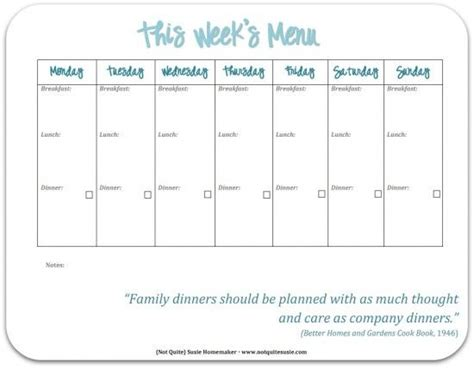 30 Family Meal Planning Templates Weekly Monthly Budget Planners Meals And Organizing Family Meal Planner Template