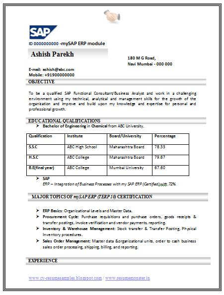 resume sles in word format for free sap abap ppt free www linkw info