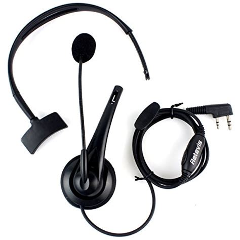 Microphone Jepit Clip On Kabel Kenwood Dm 6 0 Kabel 6m retevis walkie talkie earpiece noise cancelling headphone overhead headset for kenwood retevis