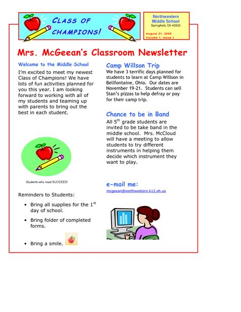 Free School Newsletter Templates For Teachers Printable Newsletter Templates For Teachers