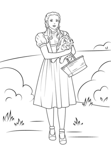coloring pages oz witch dorothy holding toto coloring page free printable