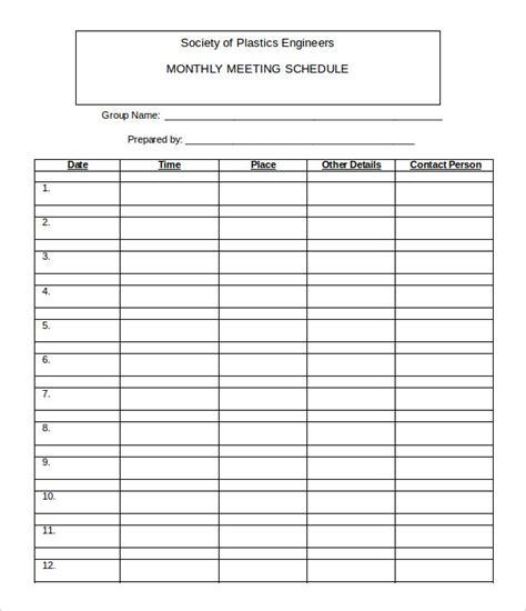 monthly time schedule template 21 monthly work schedule templates pdf doc free