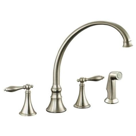 kohler brushed nickel kitchen faucet kohler finial 2 handle pull out sprayer kitchen faucet in vibrant brushed nickel k 377 4m bn