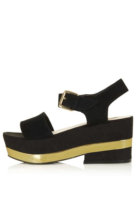 Sandal Platform 2 Hitam topshop wanted 2 part platform sandal in black lyst