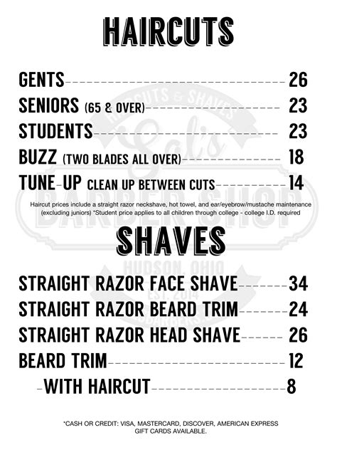 list of hairstyle prices prices