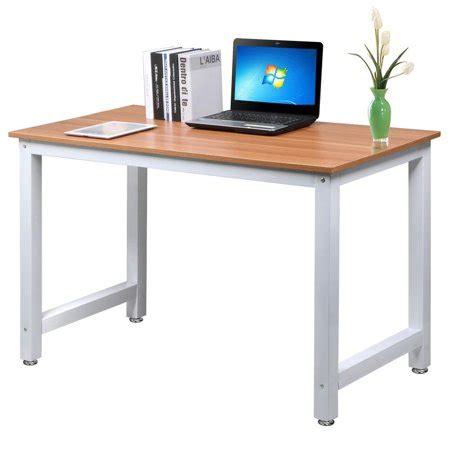 yaheetech modern simple design home office desk computer table wood desktop metal frame study