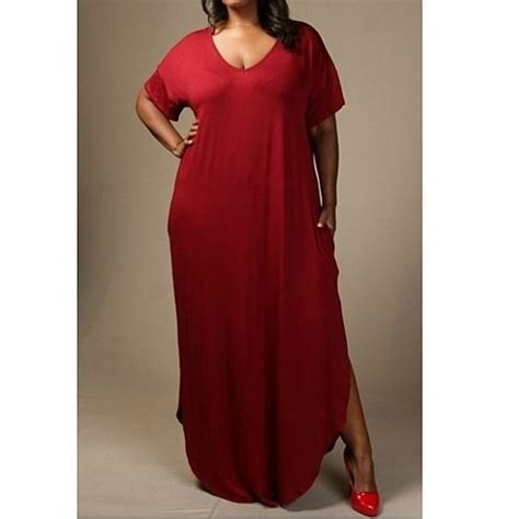 Gamis Polos Maxi Maroon buy plus size sleeve side slit maxi dress with pockets burgundy by swag on opensky