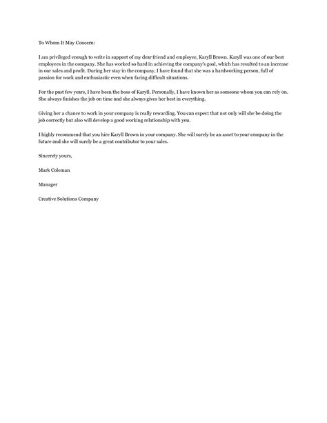 Reference Letter From Your Employer letter of recommendation for your free invoice template