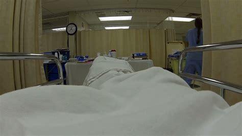 er bed nurse er emergency room patient bed pov hd 0183 stock