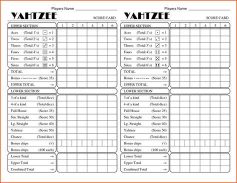 Yahtzee Score Card Template Pdf by Printable Yahtzee Score Cards Pdf Printable 360 Degree