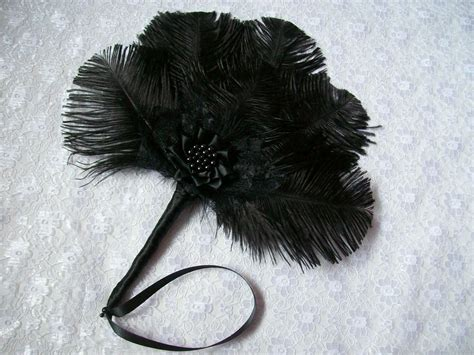 Small Black Mini Ostrich Feather Lace Pearl Hand Fan Small Black Feather