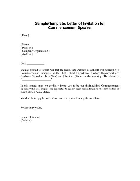 Conference Guest Speaker Invitation Letter Sle invitation letter sle for speaker in church event