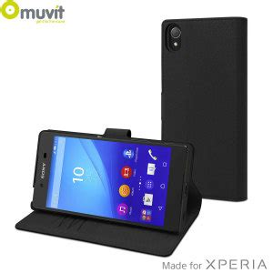Flip Shell Blackberry Z5 Black muvit wallet folio mfx sony xperia z5 black