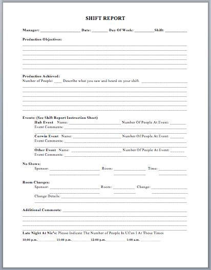 Shift Report Template Production Shift Report Template Microsoft Word Templates