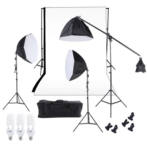 photography lighting kit with backdrop photography studio lighting softbox photo light muslin