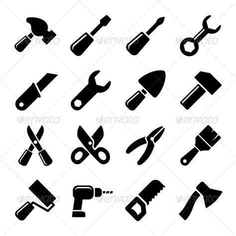 simple drawing tool working tools icon set by in finity graphicriver