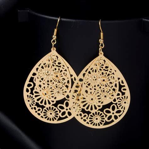 shuangr flower piercing hanging earrings for big gold color water drop statement earrings