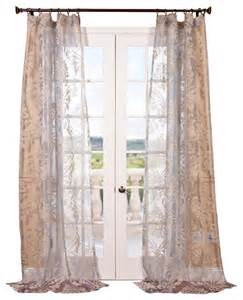 Gray Sheer Curtains Agatha Taupe Gray Patterned Sheer Curtain Single Panel Contemporary Curtains By Half Price