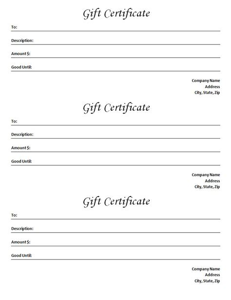 Gift Certificate Template by Gift Certificate Template Blank Microsoft Word Document