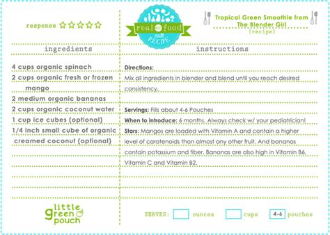 printable smoothie recipe cards tropical green smoothie from the blender girl real food