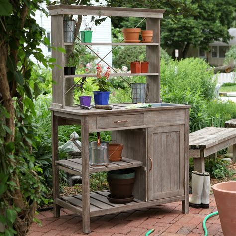 rustic garden storage potting bench driftwood finish