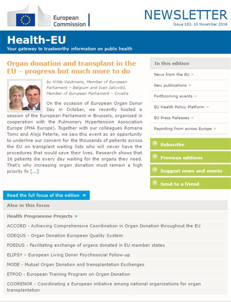 Donation Newsletter European Commission Health E Newsletter Addresses Organ Donation And Transplant In The Eu
