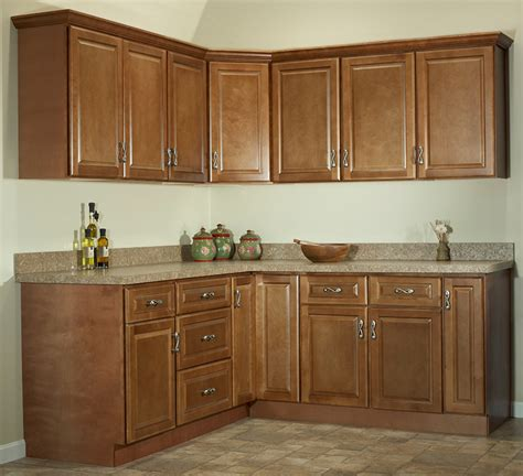 1258 quot one wall quot kitchen cabinet package set jsi s quincy quot one wall quot kitchen set brown maple
