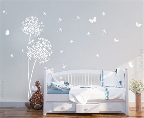 wandtattoo kinderzimmer dachschrage wall stickers nursery flower and butterflies wall stickers