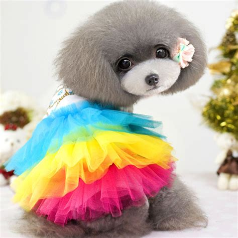 rainbow dogs rainbow pet clothes apparel summer puppy dress clothing for dogs