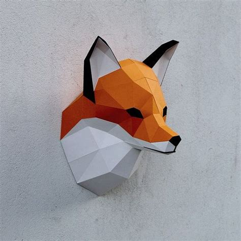 Fox Papercraft - papercraft fox printable digital diy template diy