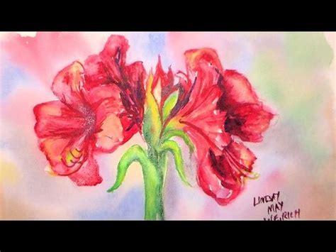 watercolor tutorial flowers youtube amaryllis flower in watercolor painting tutorial youtube