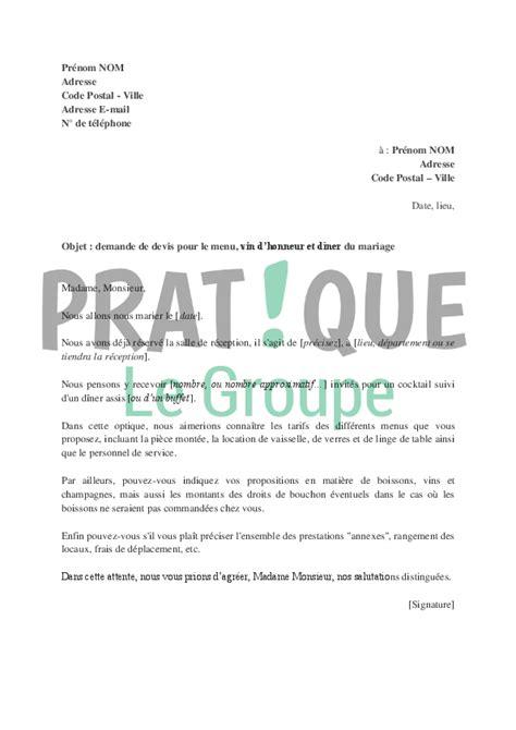 Lettre Demande De Devis Site Web Demande De Devis Pour Le Repas De Noces Pratique Fr